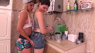 Lesbian gals making out in the kitchen Preview Image