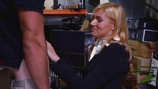 Unhappy blonde MILF sucks Pawnshop owners cock for extra money Preview Image