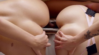 Karla Kush and Scarlet Red use their magic mouths and a double headed dildo to satisfy their cock... Preview Image