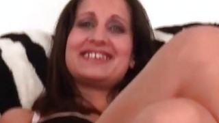 Brunette stripping naked rubs cunt on the couch Preview Image