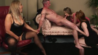 English ginger femdoms jerking sub in group Preview Image