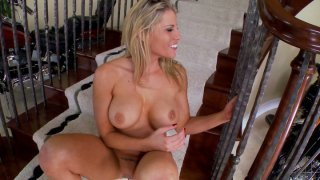 Busty blonde lady Charisma Capelli loses her mind while fucking herself with a dildo Preview Image