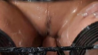 Redhead Sits On Glory Hole Dildo Preview Image