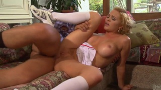 Buxom blonde Krissy Lynn in sexy mini-skirt gets a dick by a lucky man Preview Image