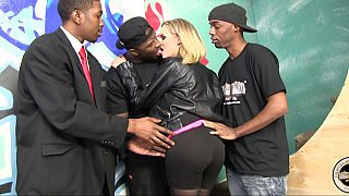 Blonde milf gets gangbanged by black dudes Preview Image
