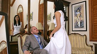 Horny brunette bride gets naile by a guest Preview Image