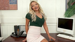 Blonde office girl pleasing her boss in POV Preview Image