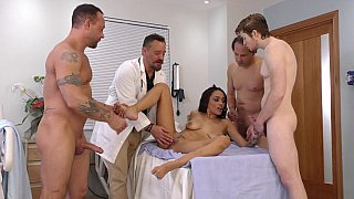 Ebony beauty gets triple-teamed at the hospital Preview Image