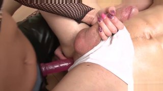 Young muscular guy pegged and dominated by hot blonde domina Preview Image
