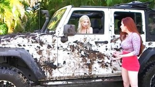 Redhead mom lesbian sex with teen blonde in the car wash Preview Image