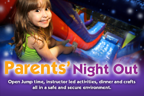 Open jump time, instructor led activities, dinner and crafts all in a safe and secure environment.