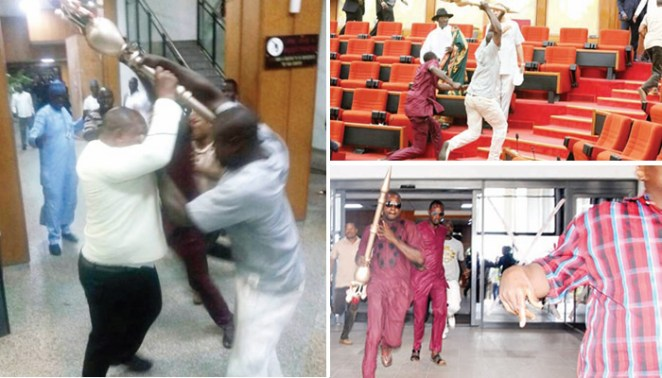 Image result for Shock, anger as thugs invade Senate, escape with mace