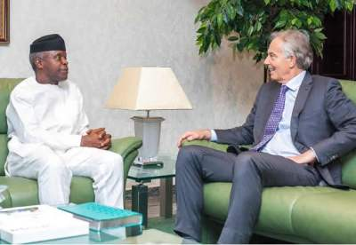 Image result for Osinbajo, Tony Blair meet at Aso Villa