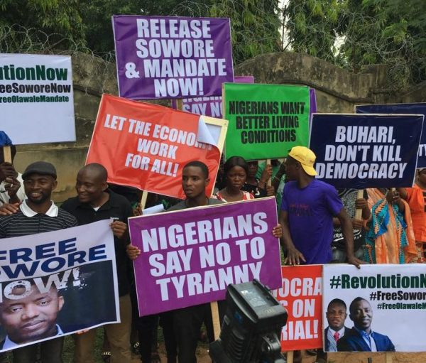 #RevolutionNow: Protesters demand Sowore's release in Abuja