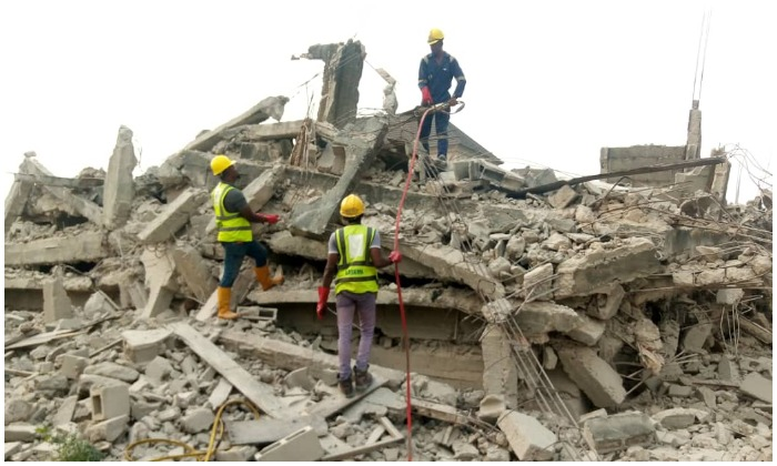 The collapsed building at Ago Palace Way, Okota, Lagos