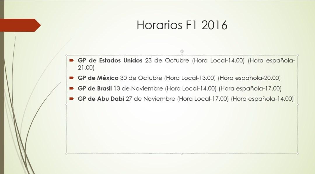 Horarios F1 2016 III