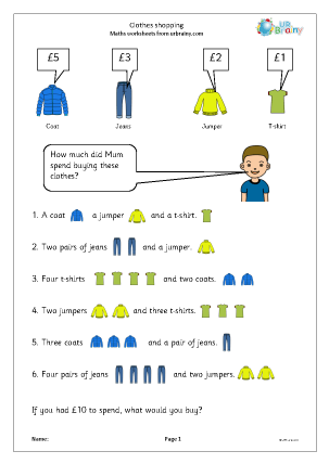 Clothes Shopping Money Maths Worksheets For Year 2 Age 6 7