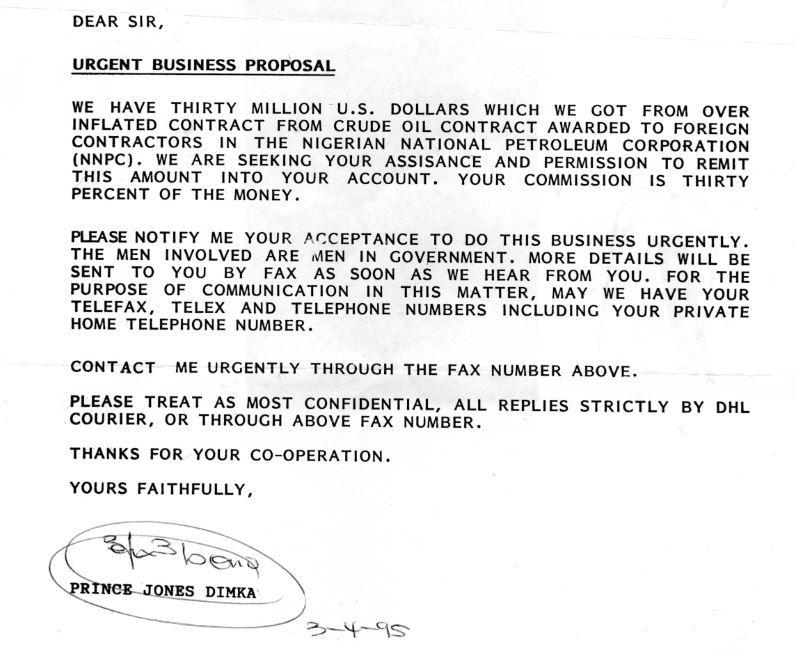 Exemple d'arnaque nigériane expédié par courrier postal en 1995