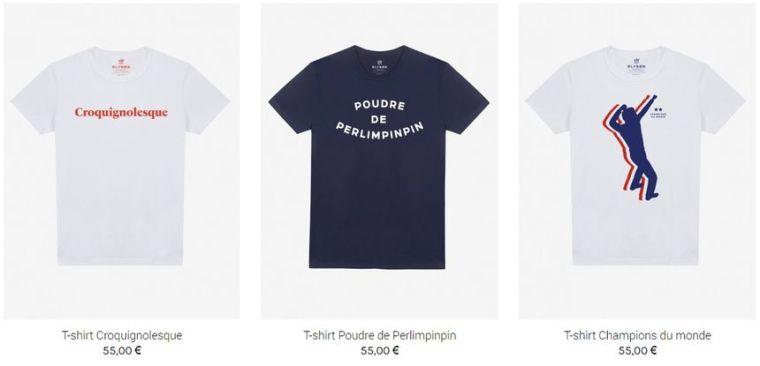 Les t-shirts créés par le Slip Français coûte 55 euros pièce. - Aucun(e)