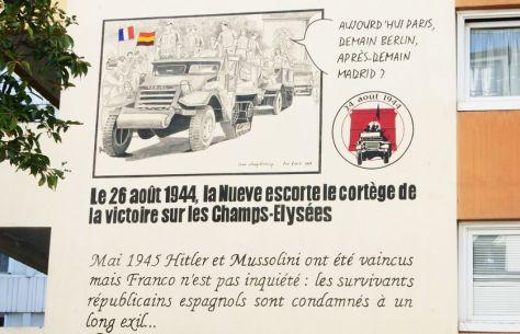 Une partie de la fresque en hommage aux combattants de la Nueve, les premiers soldats de la 2e DB à être entrés dans Paris le 24 août 1944. Fresque inaugurée ce samedi à Paris, 20 rue Esquirol.