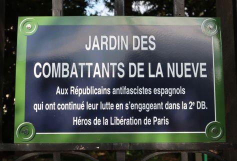 Plaque du jardin des Combattants de la Nueve (Paris, 4e)