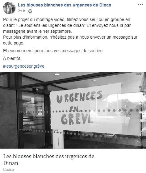 L'appel au soutien des personnels en grève des urgences de Dinan sur Facebook - Aucun(e)