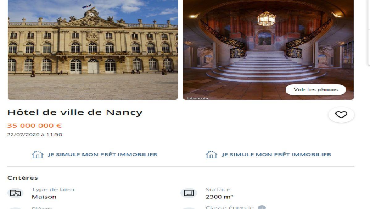l hotel de ville de nancy est a vendre