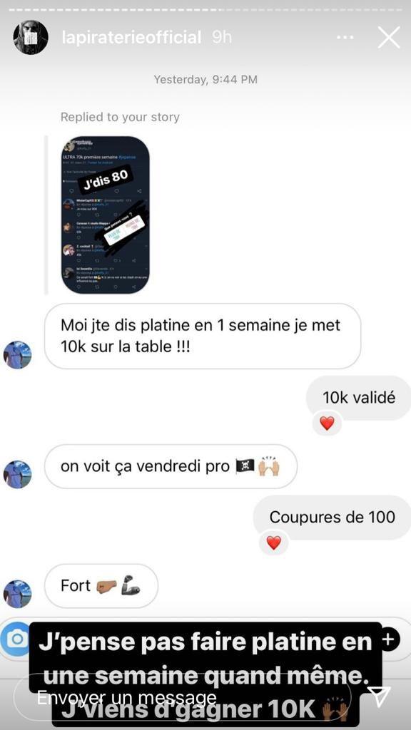 Capture d'écran story Instagram @lapiraterieofficial