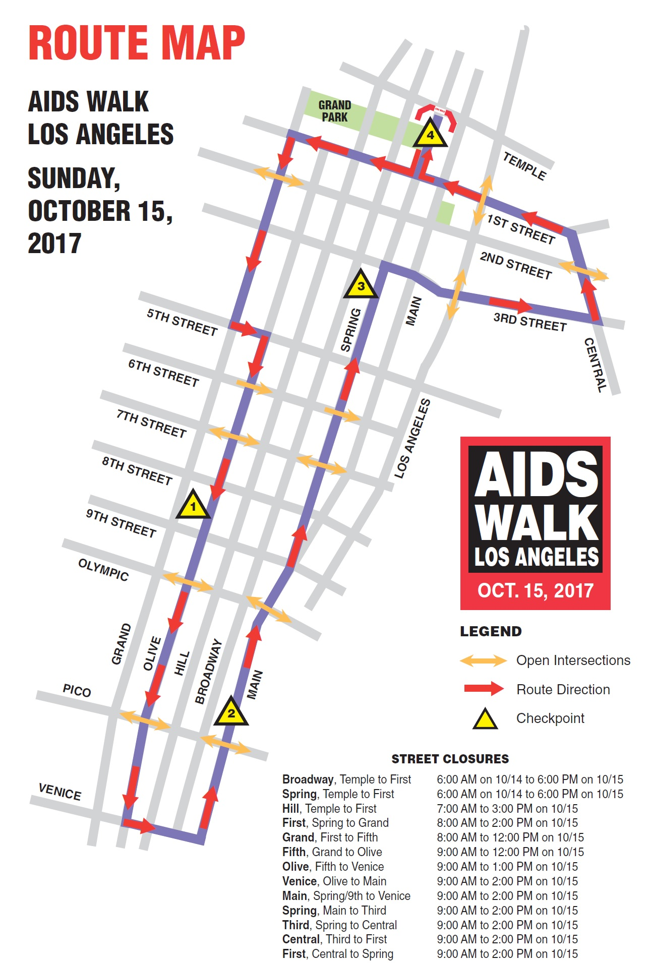 AIDS Walk Los Angeles 2017 Route Map