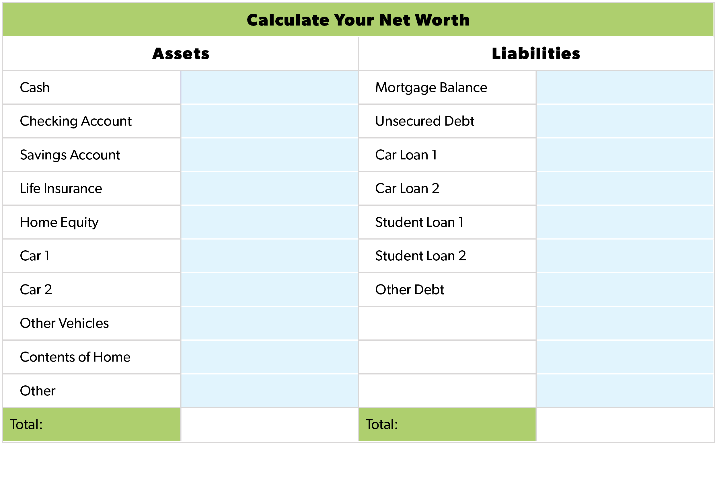 Worksheets How To Calculate Your Net Worth Worksheet