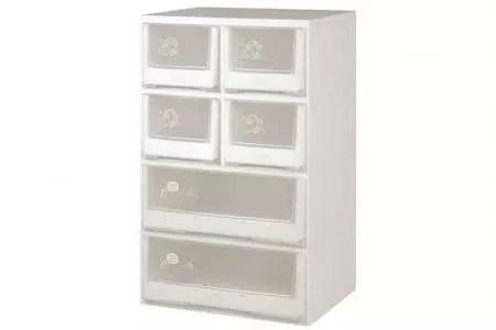 خزانة ملابس مسطحة مع 6 أدراج متنوعة 2 درج كبير 4 أدراج صغيرة حلول تخزين البلاستيك Shuter