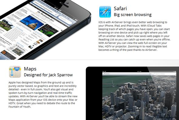 Safari Maps AirServer