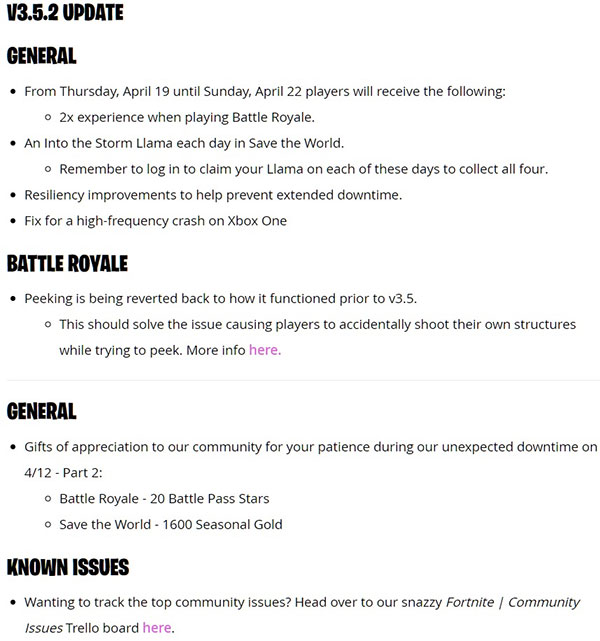 Fortnite 352 Update Patch Notes Released Heres What