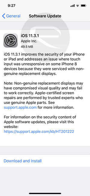 iOS 11.3.1 Released Fix