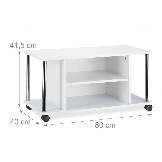 meuble tv a roulettes blanc
