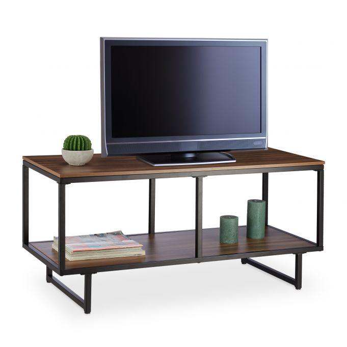 meuble tv melamine aspect bois marron
