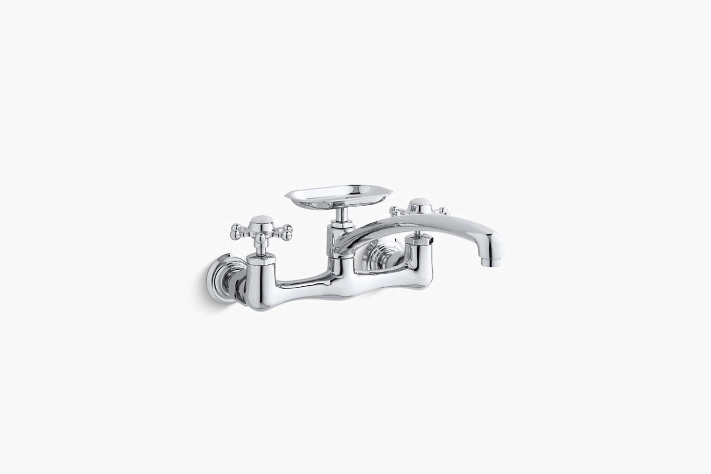 Kuche 2 Handle Wall Mount Kitchen Faucet With Soap Dish In Chrome Ngrt In