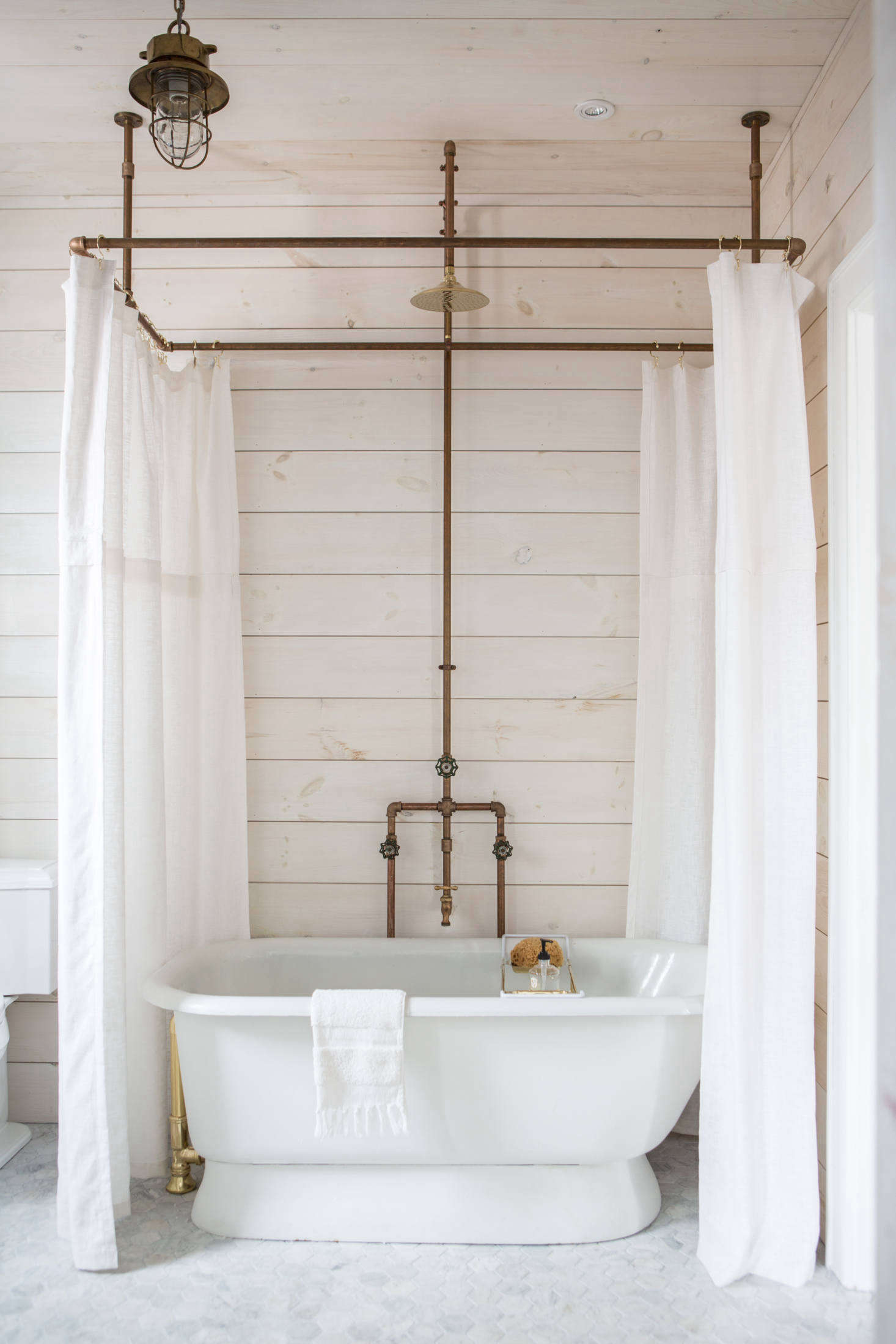 A Diy Shower Curtain Hoop Made From Brass Pipes By Zio Sons