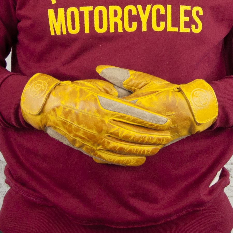 Age of Glory Rover Motorcycle Gloves Yellow