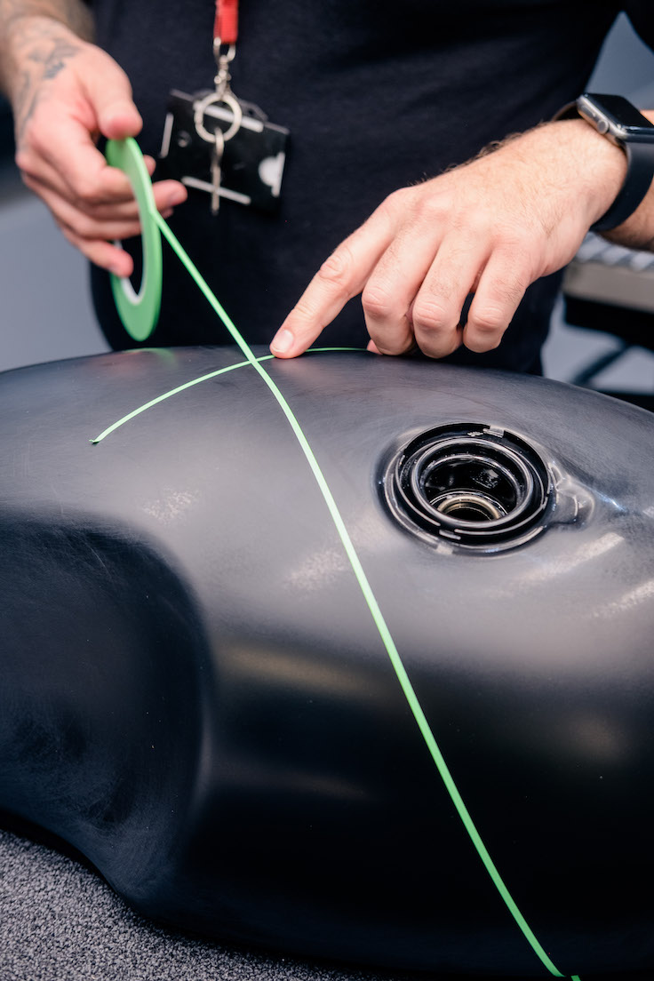 Mapping out the paint lines on the Thruxton RS tank