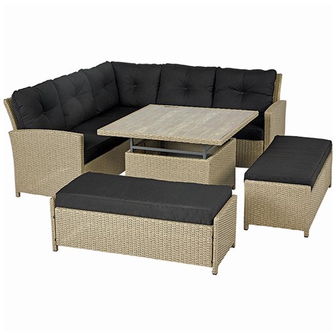 hampton 4 piece patio dining set sectional sofa