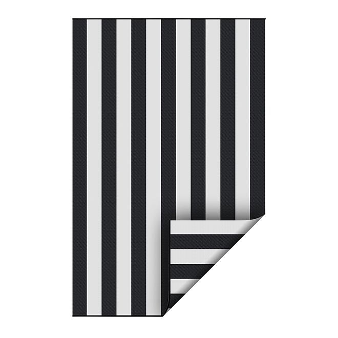 tapis exterieur reversible plastique 5 x 7 noir blanc