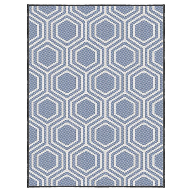 tapis exterieur korhani studio polypropylene 6 5 pi x 7 9 pi treillis bleu