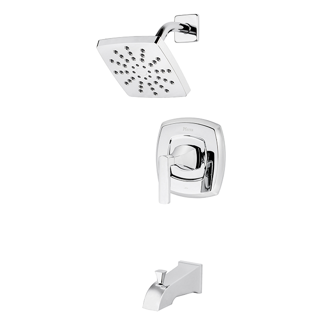 penn tub shower faucet kit single lever polished chrome