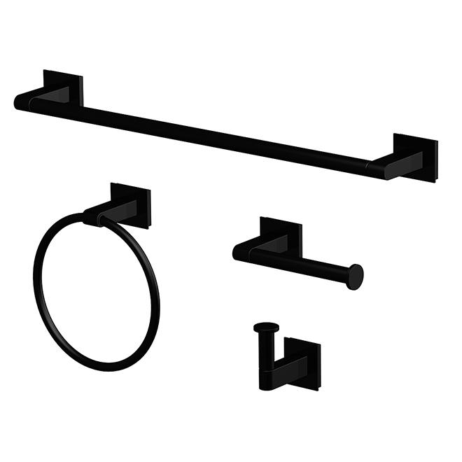 accessoires salle de bain 4 pieces noir mat