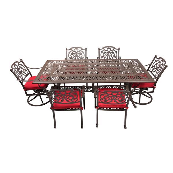 wd patio breezes patio set aluminum red