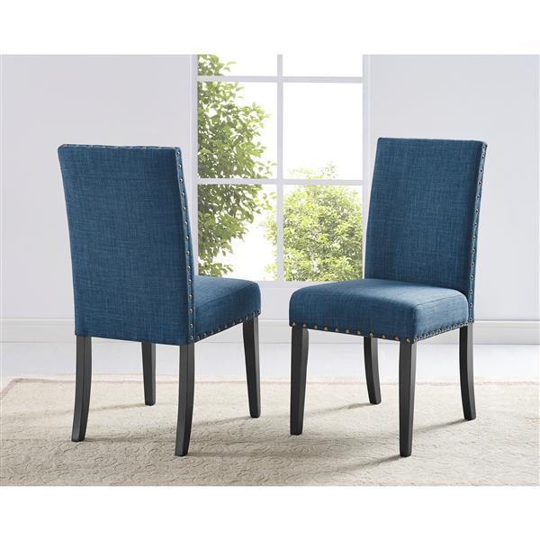 chaises de cuisine indira 19 polyester bleu ens de 2