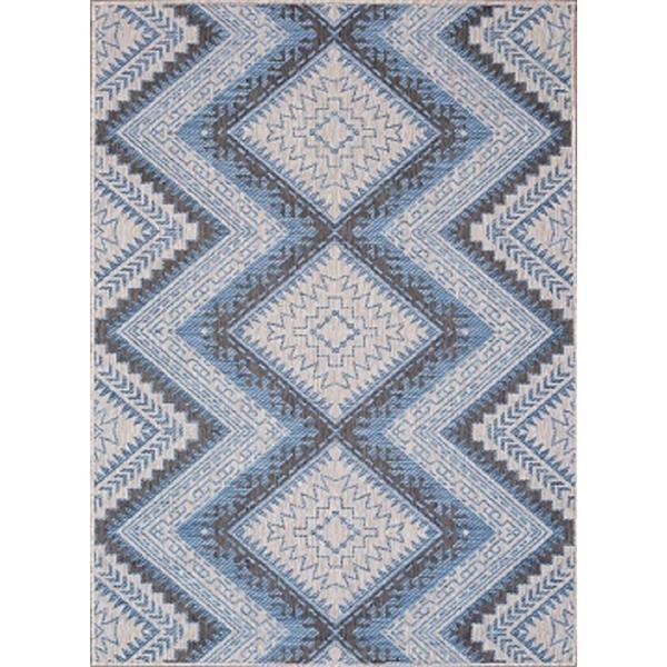 tapis polypropylene interieur exterieur gris bleu 7 x9