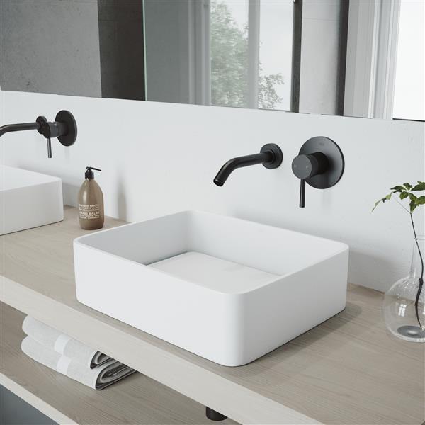 robinet de salle de bain mural olus 1 poignee noir mat