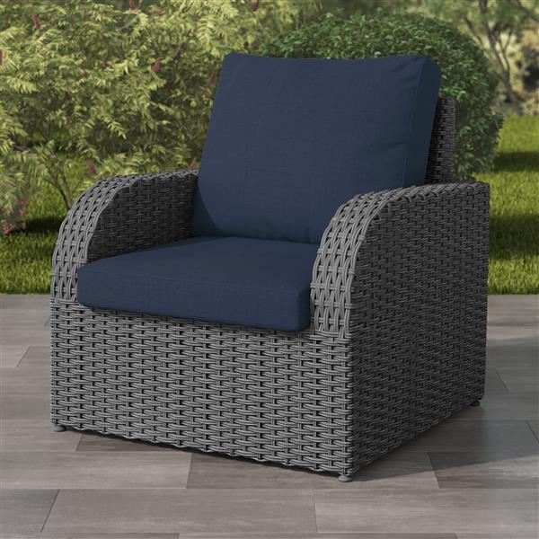 corliving charcoal grey resin wicker patio chair navy cushions 32